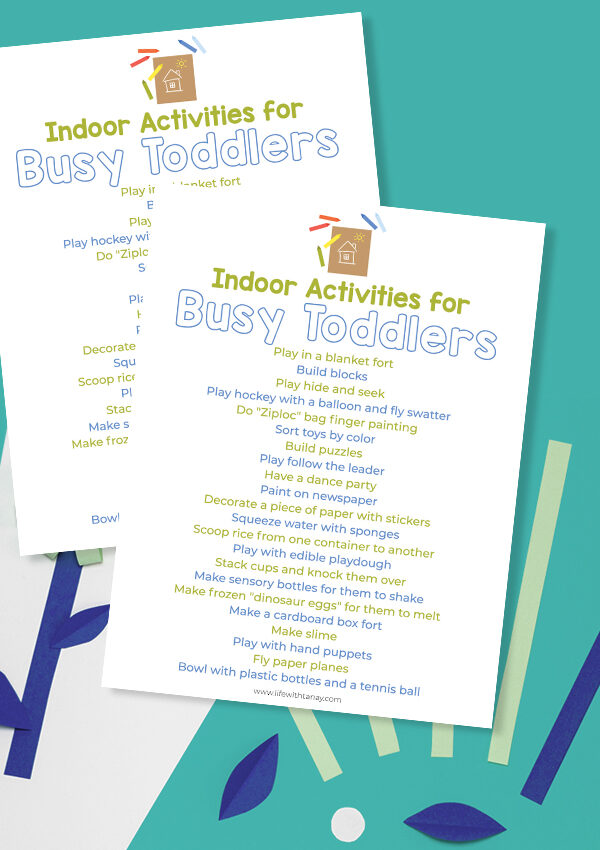 Indoor Activities for Busy Toddlers (Free Printable)