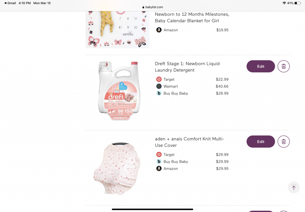 Screenshot from a Babylist baby registry